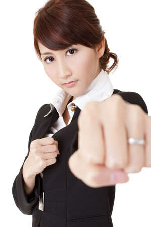 Business woman fighting, half length closeup portrait on white background. photo