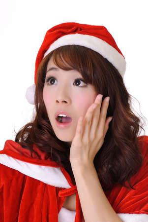 Christmas girl, half length closeup portrait on white background. photo