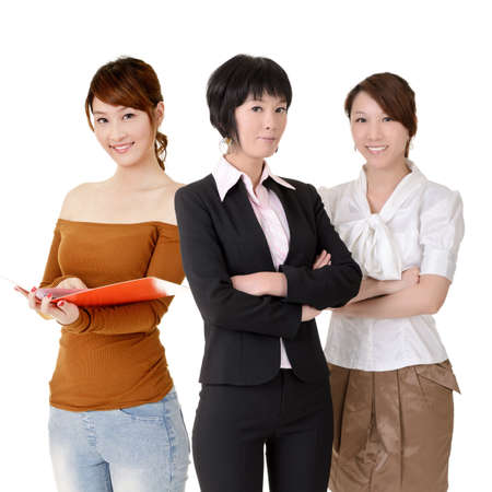 Asian business women team with happy smiling expression on face, half length closeup portrait on white background. photo