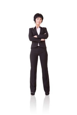 Confident mature business woman, full length portrait isolated on white background. photo