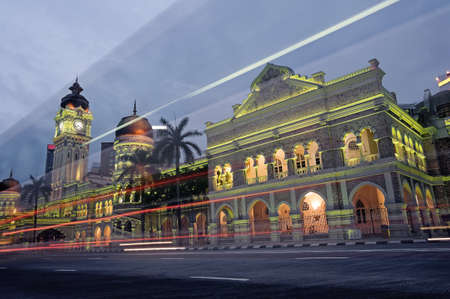 sultan: Malaysia city night, famous landmark and attraction place, Sultan Abdul Samad Building in Kuala Lumpur, Malaysia, Asia.  Stock Photo