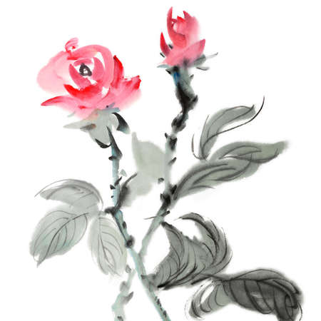 Chinese traditional ink painting of red flowers on white background. photo