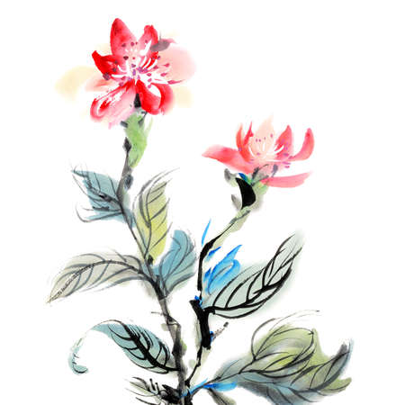 caligrafia: Chinese traditional ink painting of red flowers on white background.