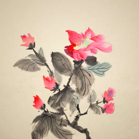 Chinese traditional ink painting of red flowers on art paper. photo