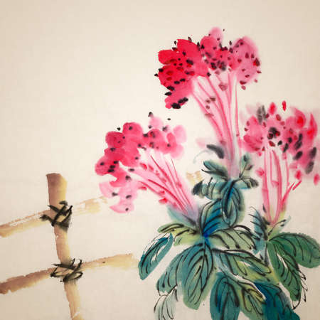 yellow china: Chinese traditional ink painting of red flowers on art paper.