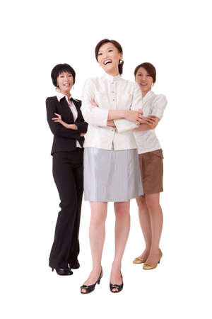 Happy smiling business team with three Asian businesswomen, full length portrait isolated on white background. Stock Photo - 9639506