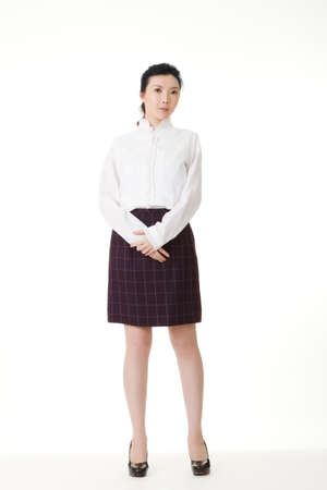 Asian business woman of young, full length portrait in studio white background. photo