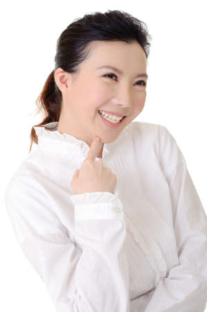 Cheerful business lady smiling, closeup portrait on studio white background. photo