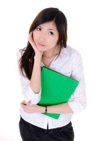 Young secretary woman of Asian thinking with confused expression on face, closeup portrait of business woman on white background. photo