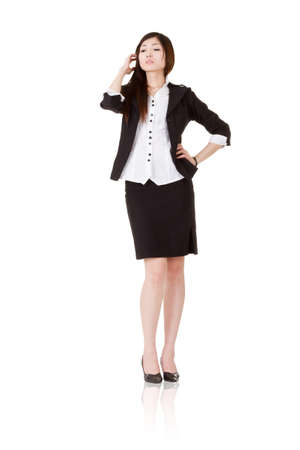 Confident manager woman of Asian, full length portrait of businessperson isolated on white background. Stock Photo - 9701916