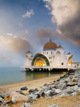 islamic scenery: Landscape of famous floating mosque on water of sea in Malacca, Malaysia, Asia.