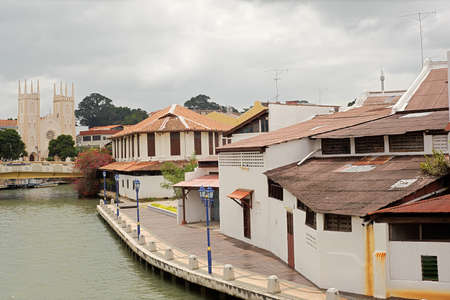Malacca cityscape with old houses, church and river in daytime in Melaka, Malaysia, Asia. photo