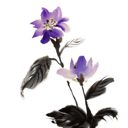 flores chinas: Pintura tradicional China de ilustraciones de tinta con coloridas flores en papel blanco de arte.