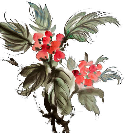 Chinese traditional painting of ink artwork with colorful flowers on white art paper. Stock Photo - 10021333