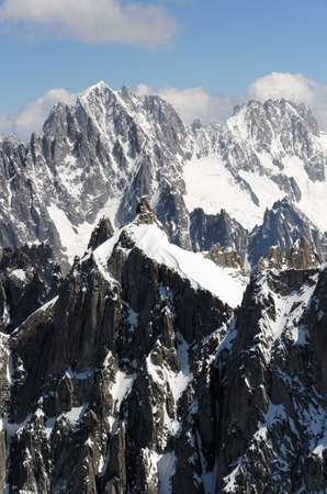 massif: Mountain scenery with snow of Alps in Chamonix, France.