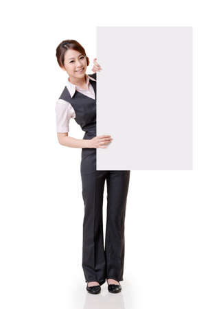 Asian business woman hold empty blank board, full length portrait isolated on white background  photo