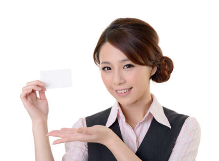 Cheerful business woman holding blank business card, closeup portrait on white background. photo