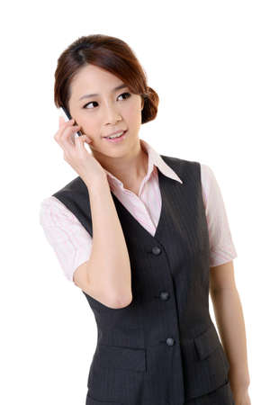 Young business woman talking on cellphone, closeup portrait on white background. Stock Photo - 17453156
