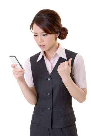 Angry business woman looking message on mobile phone, closeup portrait on white background. photo