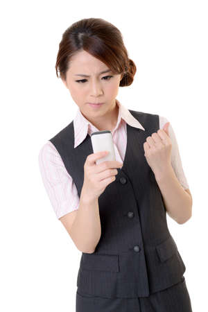 Angry business woman looking message on mobile phone, closeup portrait on white background. Stock Photo - 17452632