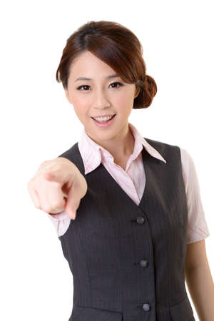 Young Asian business woman pointed at you, closeup portrait on white background. photo
