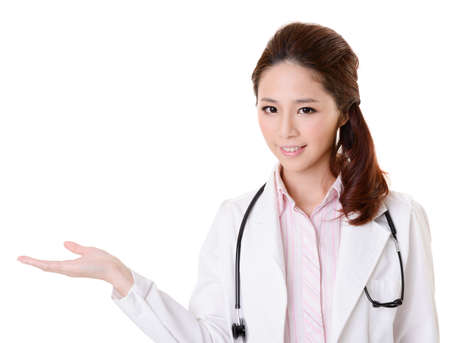 asian doctor: Friendly Asian doctor woman introduce something, closeup portrait isolated on white background.