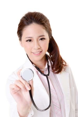 Friendly Asian doctor woman use stethoscope, closeup portrait focus on face and isolated on white background. photo
