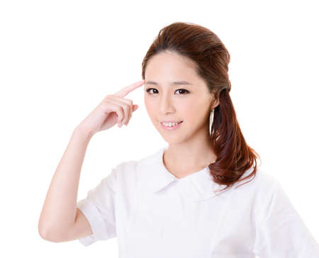 Smiling Asian nurse get an idea, closeup woman portrait isolated on white background. Stock Photo - 17470960