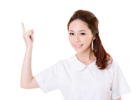 Smiling Asian nurse get an idea, closeup woman portrait isolated on white background. Stock Photo - 17470955