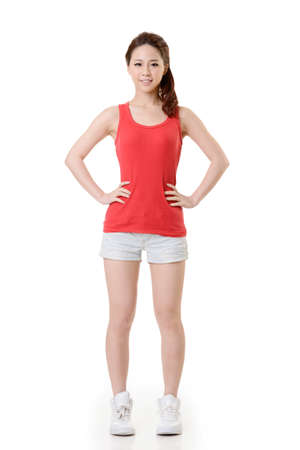 kindly: Asian sport girl, full length portrait isolated on white background.