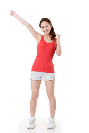 kindly: Cheerful Asian sport girl, full length portrait isolated on white background.