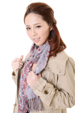 Attractive young modern lady of Asian, closeup portrait on white background. photo
