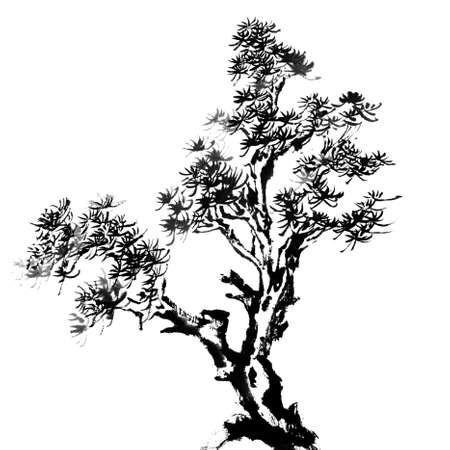중국 전통 수묵화, 흰색 배경에 소나무.