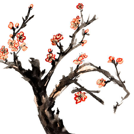 ink painting: Chinese traditional ink painting, red plum blossom on white background.