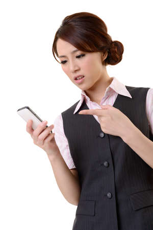 Angry business woman looking message on mobile phone, closeup portrait on white background. Stock Photo - 17797990