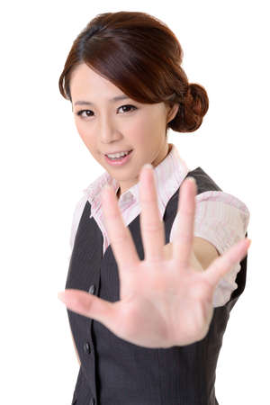 woman stop: Asian business woman give you No gesture, close up portrait on white background. Stock Photo