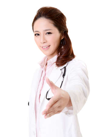 Friendly Asian doctor woman shake hand with you, closeup portrait isolated on white background. photo