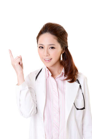 Friendly Asian doctor woman have an idea, closeup portrait isolated on white background. Stock Photo - 17797981