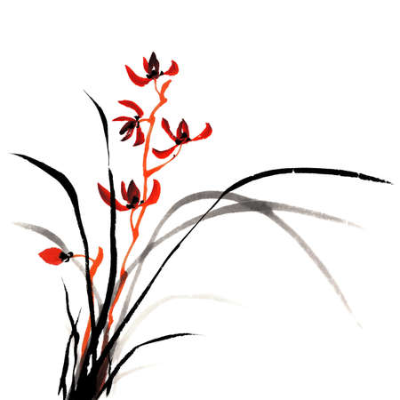 Chinese traditional ink painting of orchid on white background.
