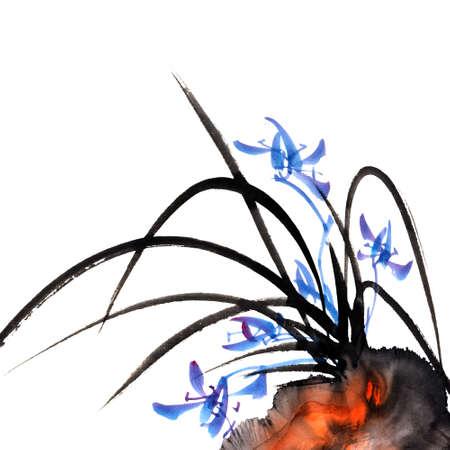 흰색 배경에 난초의 중국 전통 잉크 그림.