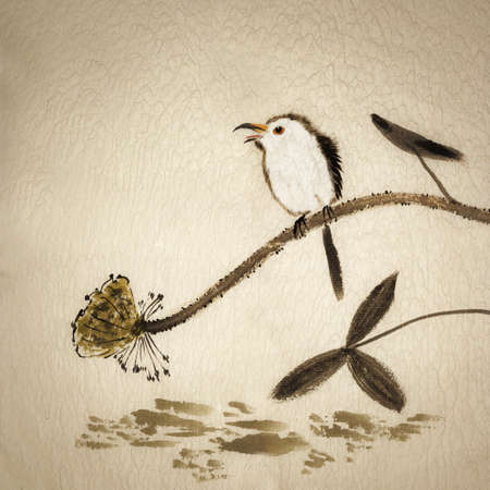 Chinese traditional ink painting with birds and flowers on yellow old canvas. photo