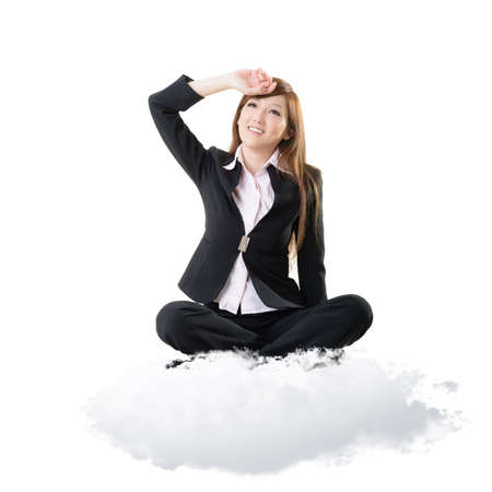 at ease: Business woman sit on cloud over sky and look at you, portrait isolated on white background.