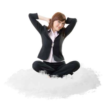at ease: Business woman sit on cloud over sky and stretch arms, relax concept portrait isolated on white background.