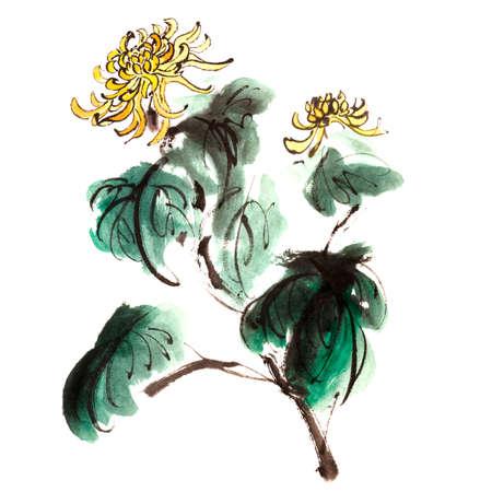 Chinese chrysanthemum garden ink painting on white background.