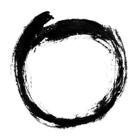 japan calligraphy: Chinese calligraphy circle shape. Stock Photo