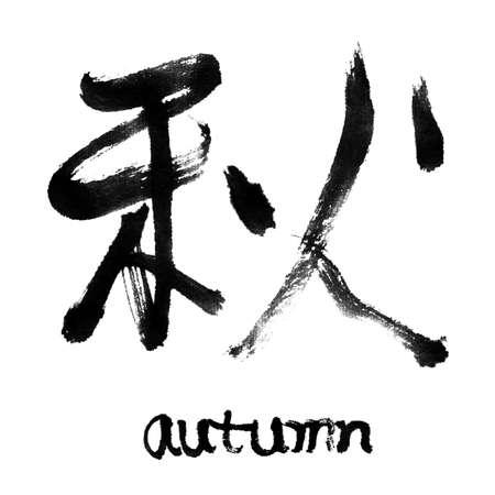 word art: Chinese calligraphy word : autumn. Stock Photo