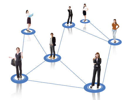 mobile commerce: Business network, Asian business people use mobile phone to communicate to each other on white background. Stock Photo