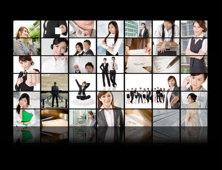 TV screen wall showing pictures of business concept by Asian business people. Stock Photo - 18561538