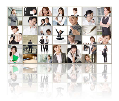 TV screen wall showing pictures of business concept by Asian business people. Stock Photo - 18568810