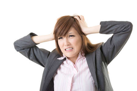 resentment: Angry business woman of Asian, closeup portrait isolated on white background.